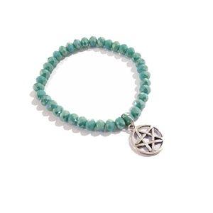 Sparkly Green Beaded Pentagram Charm Bracelet